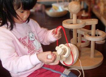 立体知恵の輪(2段)木のおもちゃ知育玩具銀河工房おしゃぶりガラガラ赤ちゃんベビー積木ブロック子供遊具こどもつみきパズル