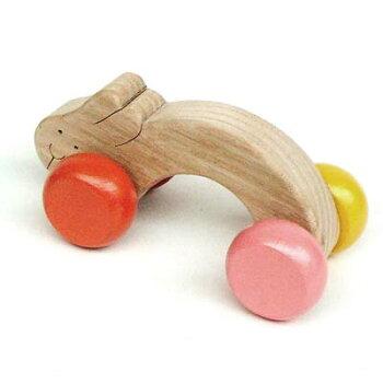 飛びうさぎ(大人気愉快で楽しい木のおもちゃギフトにもどうぞ!)(見て触って考えて五感に働きかける玩具です。脳トレ木のおもちゃ知育玩具出産お祝いインテリアにもgood♪)WoodenRolling&Pull-AlongbabyToys【楽ギフ_包装選択】【楽ギフ_のし宛書