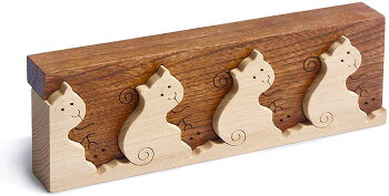 猫のインターロッキング木のおもちゃ出産祝い名入れギフト日本製おしゃぶり赤ちゃんおもちゃ銀河工房