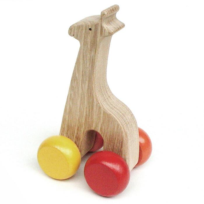 【名入れ可】●静かなキリン 押しぐるま 木のおもちゃ 車 押し車 カタカタ 日本製 知育玩具 誕生祝い 赤ちゃん おもちゃ おしぐるま 6ヶ月 1歳 2歳 3歳 誕生日ギフト 出産祝い 男の子 女の子 木工職人手作り 親子 木育 家族 背中マッサージ
