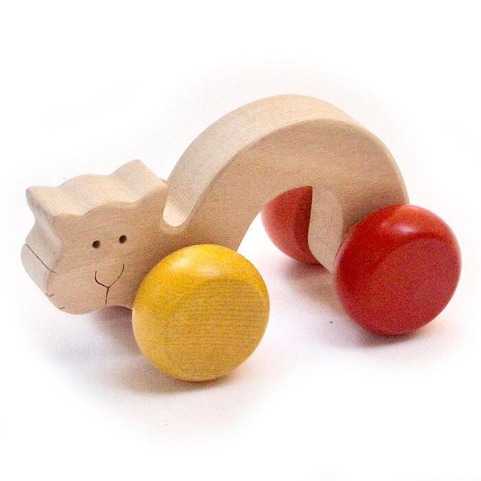 【名入れ可】●あくびねこ 押しぐるま 愉快で楽しい 木のおもちゃ 車 日本製 押し車 カタカタ 知育玩具 誕生祝い 赤ちゃん おもちゃ おしぐるま 6ヶ月 1歳 2歳 3歳 誕生日ギフト 出産祝い 男の子 女の子 木工職人手作り 親子 木育 家族 マッサージ 背中コロコロ