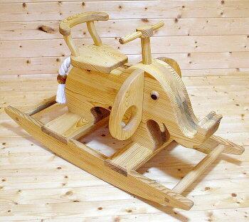 ロッキングエレファント木のおもちゃ知育玩具銀河工房積木ブロック子供遊具木馬