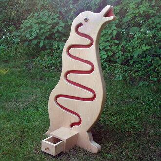 ●企鹅储蓄订货制造(多么有趣的硬币的活动!) 树的玩具日本制造的■Penguin Coin Bank Wooden Toys (Ginga Kobo Toys) Japan
