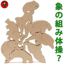 【送料無料】●象のサーカス おもしろ積み木 木のおもちゃ パズル 世界まる見え特捜部に登場♪日本製 男の子女の子 1歳 プレゼント ランキング 2歳 3歳 4歳 5歳 6歳 7歳 8歳 誕生日ギフト 誕生お祝い 出産祝い
