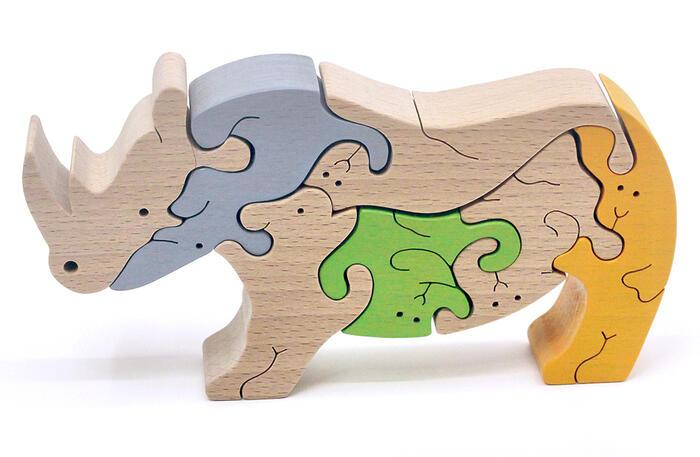 【名入れ可】● サイ(B)のスタンディングパズル 木のおもちゃ 積み木 パズル 型はめ 6ヶ月 9ヶ月 10ヶ月 11ヶ月 0歳 1歳 2歳 3歳 4歳 5歳 誕生祝い 出産祝い 誕生日ギフト 動物パズル 男の子 女の子 赤ちゃん おもちゃ 日本製 国産 幼児〜高齢者 親子 木育 家族