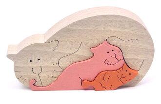 ● 만고양이의 스탠딩 퍼즐목의 장난감 집짓기 놀이 퍼즐형은 째 6개월 9개월 10개월 11개월 0세 1세 2세 3세 4세 5세 생일축하 출산 축하 생일 기프트 동물 퍼즐 사내 아이 여자 아이 아기 장난감 일본제 국산 유아~고령자 부모와 자식목육가족