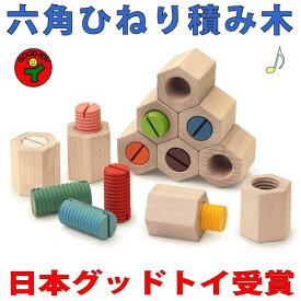 【送料無料】●六角ひねり積み木 日本グッド・トイ受賞おもちゃ 木のおもちゃ 知育玩具 ブロック 型はめ 日本製 男の子女の子 6ヶ月 1歳 プレゼント ランキング 2歳 3歳 4歳 誕生日ギフト 誕生祝い 出産祝いに♪