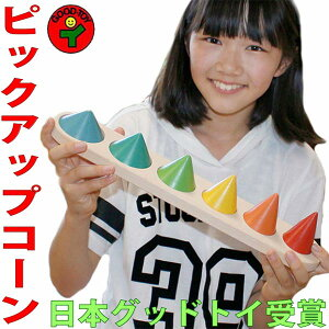 【送料無料】●ピックアップコーン 木のおもちゃ パズル 型はめ 知育玩具 日本製 1歳〜100歳 高齢者 リハビリ バリアフリー おしゃれ 2歳 3歳 4歳 5歳 6歳 7歳 8歳 誕生日ギフト〜出産祝い 男の
