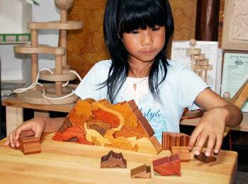 動物のピラミッド(Bタイプ)木のおもちゃ知育玩具銀河工房おしゃぶりガラガラ赤ちゃんベビー積木ブロック子供遊具こどもつみき