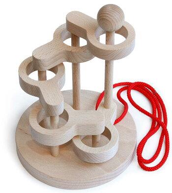 立体知恵の輪(5段)木のおもちゃ知育玩具銀河工房おしゃぶりガラガラ赤ちゃんベビー積木ブロック子供遊具こどもつみきパズル