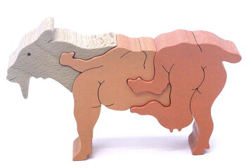 やぎのスタンディングパズル木のおもちゃ知育玩具積み木銀河工房日本製WoodenToys(GingaKoboToys)japan