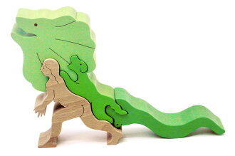 Frill-Necked Lizard Standing Puzzle  Wooden Toys (Ginga Kobo Toys) Japan