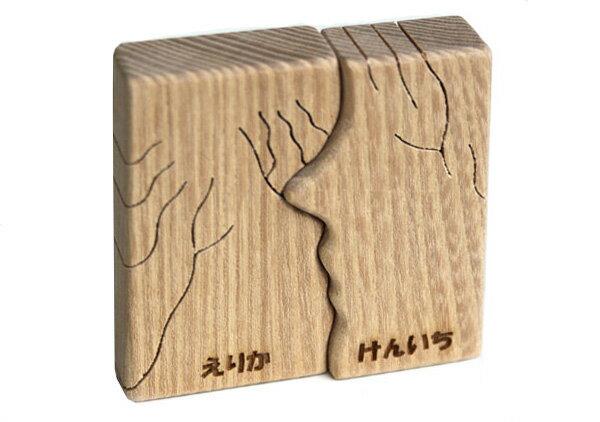 【2人の名前入れ無料】●愛する二人(ミニ) 木のおもちゃ 日本製 愛するカップルへプレゼントに如何ですか・・・ 誕生日ギフト 男の子 女の子 恋人おもちゃ 夫婦 記念日 国産 木工職人手作り 型はめ 木育 木製 ギフト 二人分のお名前入れ込み 記念品 送料無料