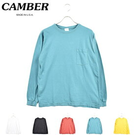 別注【 CAMBER / キャンバー 】 長袖 ポケット Tシャツ クルー ネック long sleeve crew neck pocket T shirts Tシャツ 無地 後染め ロング スリーブ ポケT メンズ レディース ユニセックス S M L XL ホワイト ブラック