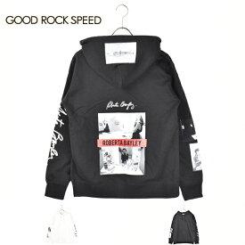 【 GOOD ROCK SPEED グッド ロック スピード 】ROBERTA BAYLEY 19rtb012w PHOTO PRINT SWEAT PARKA バンド フォト プリント スウェット パーカ WHITE ホワイト 白 グレー GRAY メンズ レディース