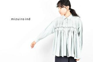 【20FW】【ミズイロインド】ピンタックエンブロイダリーワイドシャツ3-239367【mizuiroind】pintuckembroiderywideshirtカーキグレーブルー日本製ゆったり女性用STAYHOME