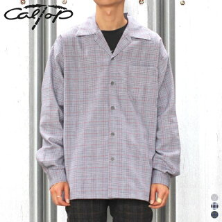 【CALTOPキャルトップ】CHECKL/SSHIRTSチェックシャツ開襟オープンカラーロングスリーブART-3003アメリカ製USAカルトップコットンメンズ男性