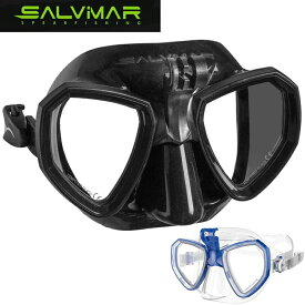 Salvimar Trinity サルビマー マスク 黒 透明 ゴーグル フリーサイズ GoPro アクションカメラ マウント シュノーケル ダイビング スピアーフィッシング 魚突き 水中メガネ 大人用 男女兼用