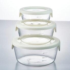 HARIO(ハリオ) 耐熱ガラス製保存容器丸3個セット オフホワイトSYTN-2518-ow