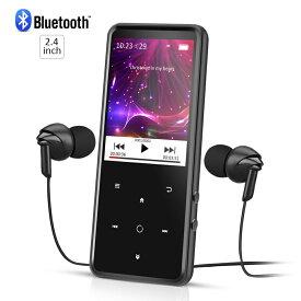AGPTEK 音楽プレーヤー Bluetooth対応 MP3プレーヤー bluetooth 2.4 インチ 大画面 HIFI高音質 音楽プレーヤー FMラジオ/録音 タッチパネル 動画 内蔵8GB マイクロSDカード対応 イヤホン付属 ブラック C2