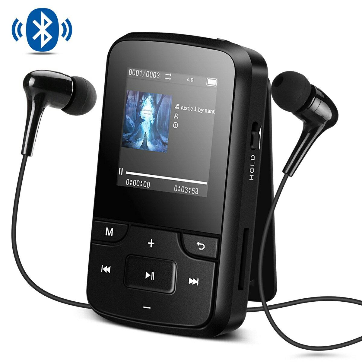 AGPTEK 音楽プレーヤー ミュージック プレーヤー Bluetooth搭載 クリップ ミニ MP3プレーヤー 8GB内蔵 高音質 FMラジオ/録音 イヤホン&アームバンド&防汗ケース付属 最大128GBマイクロSDカードに対応 ブラック G6