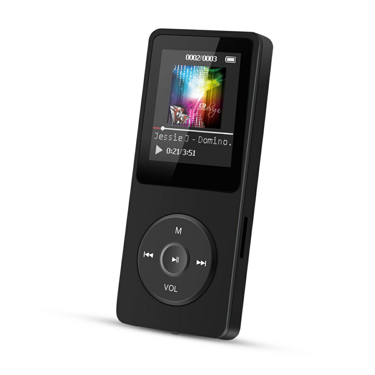 AGPTEK 音楽プレーヤー MP3プレーヤー 新型 最大70再生時間 ロスレス音質 超軽量 内蔵容量8GB マイクロSDカードに対応 ブラック A02