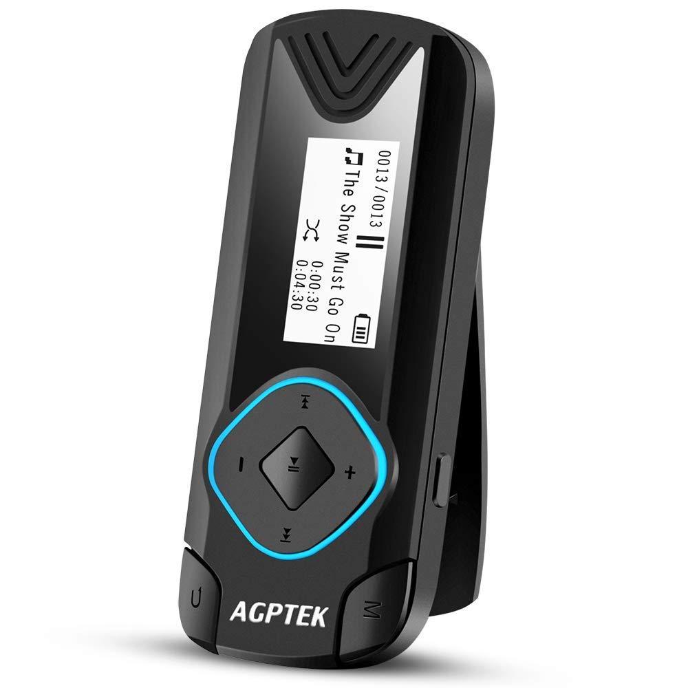 AGPTEK MP3プレーヤー クリップ ランニング 音楽 プレーヤー ロスレス音質 超軽量 音楽/FMラジオ/録音 内蔵8GB 最大128マイクロSDカードに対応 ブラック R3