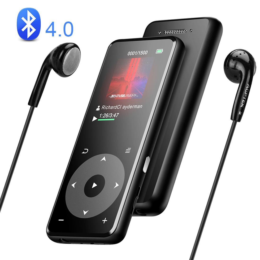 AGPTEK 音楽プレーヤー bluetooth搭載 MP3プレーヤー Hi-Fiロスレス音質 デジタルオーディオプレーヤー 光るタッチボタン 歩数計 合金製 内蔵8GB 最大128GBマイクロSDカード対応 A16TB ブラック