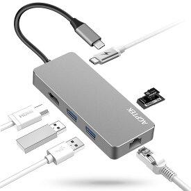AGPTEK USB-C ハブ 多機能7-in-1 4K タイプ C マルチ変換アダプター USB C アダプター USB Type-Cハブ LANポート(1000Mbps)/Tpye-C 充電ポート/4k HDMI/SD/microSDカードスロット/2*USB 3.0ポート MacBook/MacBook Pro/Samsung Chromebook Plus/surface laptop 3に対応