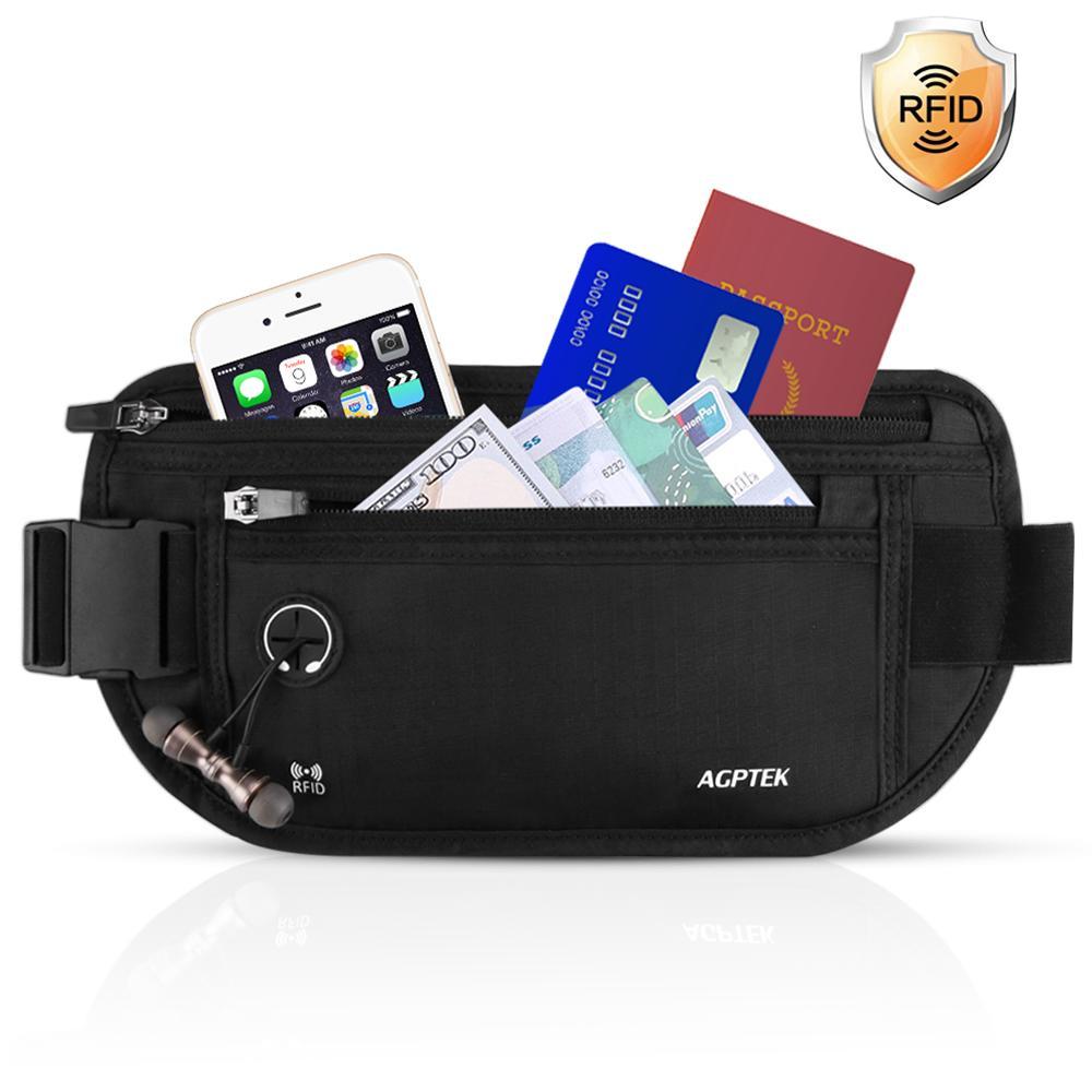 AGPTEK セキュリティポーチ スキミング防止 ウエストポーチ パスポートケース RFID 遮断ケース 盗難対策 貴重品入れ ウエストバッグ ランニングベルト 防犯グッズ 折りたたみ式 薄型 アウトドア 旅行用品 iPhone 7 Plus/6S Plus収納可 ブラック