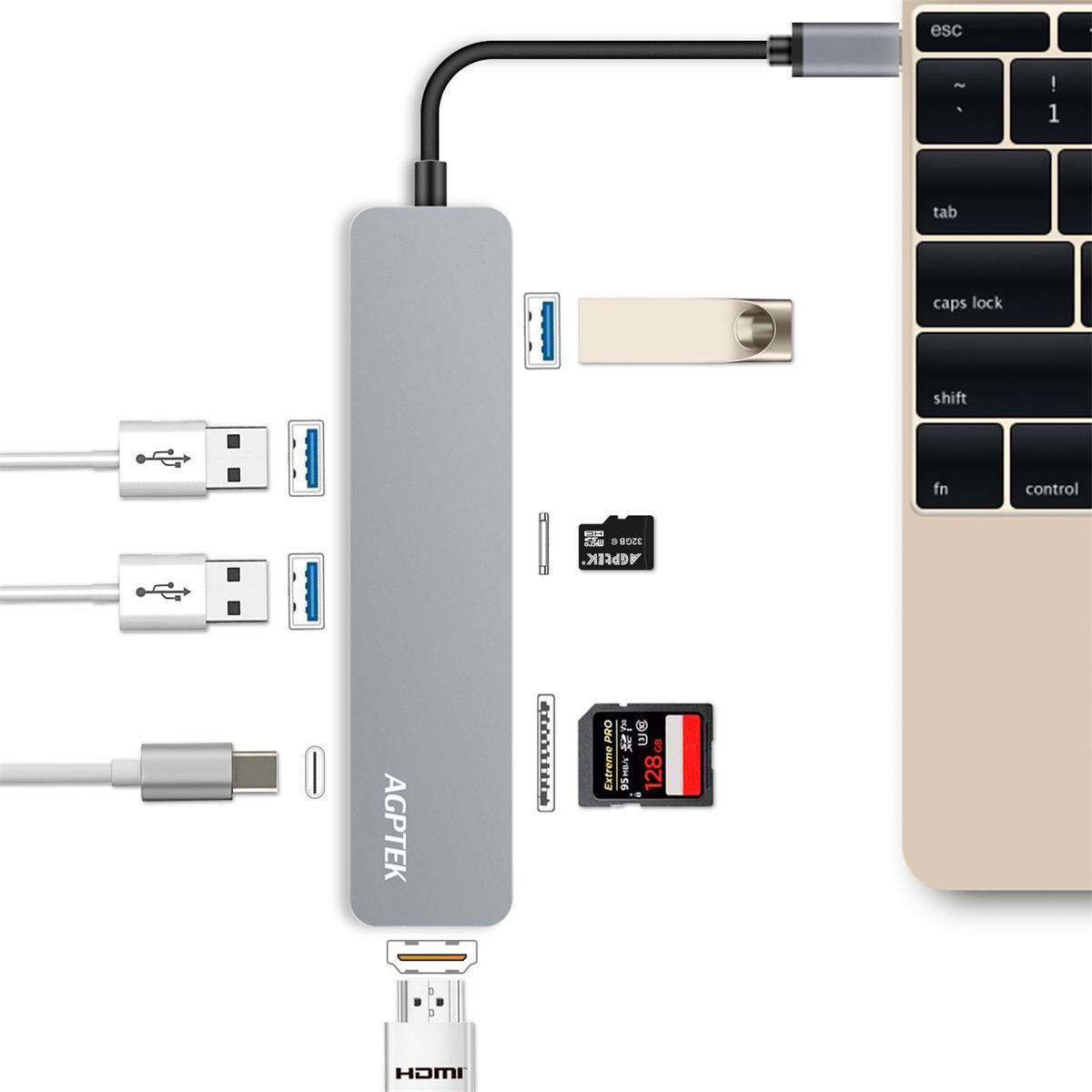 AGPTEK USB-C ハブ 多機能7-in-1 4K HDMI出力 タイプ C マルチ変換アダプター USB C アダプター USB Type-Cハブ Tpye-C 充電ポート/4k HDMI/SD/TFカードスロット/3*USB 3.0ポート MacBook/MacBook Pro/Samsung Chromebook Plusに対応(シルバー)