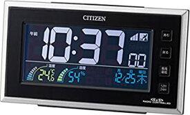 【中古】シチズン 目覚まし時計 電波 デジタル パルデジットネオン カラー 液晶 温度 湿度 カレンダー 表示 AC電源 24時間 LED 点灯 黒 CITIZEN 8RZ121-0