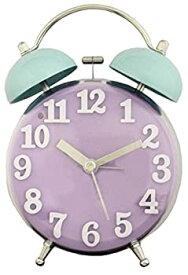 【中古】ツジセル 目覚まし時計 2TONEクリアベルクロック アナログ表示 連続秒針 パープル×グリーン 166232