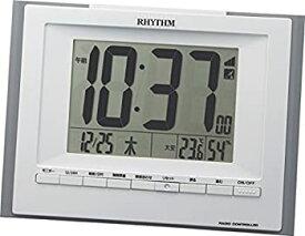 【中古】リズム時計 目覚まし時計 電波 デジタル フィットウェーブD168 置き掛け兼用 温度 湿度 カレンダー グレー RHYTHM 8RZ168SR08