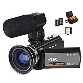 【中古】ビデオカメラ ACTITOP デジタルビデオカメラ 4K HDR 48MP WIFI機能 16倍デジタルズーム IR夜視機能 予備バッテリーあり 3.0インチタッチモニター