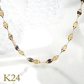 k24 純金 ペタルチェーン ネックレス 43cm【1.7mm】レディース チェーンネックレス ペンダントチェーン ゴールドチェーン 24金 K24 送料無料 品質保証書 ギフト プレゼント