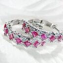 K18WG スクエアカット ルビー&ダイヤモンド ピアスファッション ジュエリー レディース ピアス ホワイトゴールド ル…