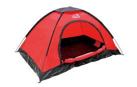 テント 1〜2人用 ドーム型テント レッド DOME TENT+ OUTDOOR MAN UPF40 UVカット 遮光 アウトドア キャンプ レジャー 日焼け防止 防災用