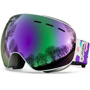 ACURE (アキュア) スキーゴーグル OTG フレームレス スノーボード デュアルレンズ 曇り止め UV400プロテクション メンズ レディース ユース キッズ Large (Adults) パープル