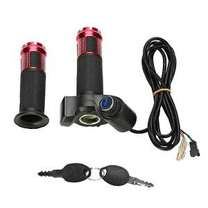 4色 スロットルツイストグリップ 耐衝撃性 耐熱性 耐低温性 防水性 エンジングリブ LEDディスプレイ画面付き 電動自転車モーターガスモーター自転車(赤)