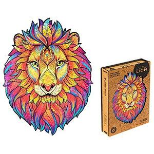UNIDRAGON 木製パズルジグソー、大人と子供への最高のギフト、ユニークな形のジグソーパズルピース、神秘的なライオン、31 х 40 cm、327 ピース、キングサイズ