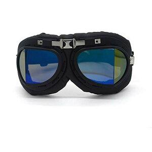 バイクゴーグル ヴィンテージモトクロスゴーグル オートバイヘルメットメガネ PCレンズUVカット保護メガネ 防砂 防塵 防風 パンクゴーグル (ブルー)