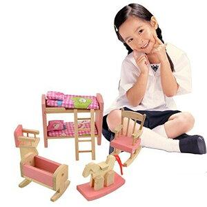 Cisixin 積み木 3Dモデル こどもおもちゃ ドールハウス ベッドルーム 木製 (2だんベッド 幼児用ベッド ロッキング 椅子 木馬 ラダー)6セット
