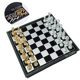 (TS.CORP) チェス マグネット チェスボード 折りたたみ チェスセット 日本語説明書付き(金&銀)