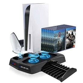 PS5 PlayStation5 縦置きスタンド 冷却ファン コントローラー2台充電 USBハブ3ポート コントローラー 充電スタンド アシストキャップ14個付き