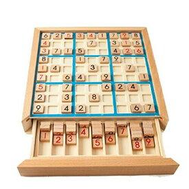 (リトルスワロー) 数独 木製 ボードゲーム 卓上ゲーム すうどく ナンプレ 9ブロック パズル 脳トレ 知育玩具 大人も子供も 繰り返し 何度でも 楽しめる (ブルー)