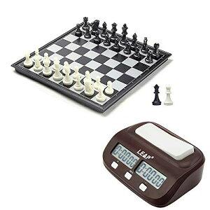 デジタル対局時計 チェスクロック + 25x25cm マグネット式 折りたたみチェスボード + 黒と白 チェスの駒 + 追加の2つのクイーン駒