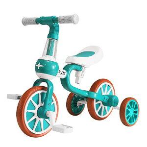 XJD 三輪車 二輪車 子供 幼児用 自転車 バランスバイク 3in1 キッズバイク 1−5歳に向け 多機能 ペダルなし自転車 ランニングバイク 変身バイク 軽量 ノーパンクタイヤ サドル調整可能 (グリー