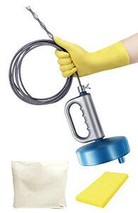 オマヒット パイプクリーナー ワイヤー 排水溝 つまり 手袋 保管袋 スポンジ 説明書付 (5m)
