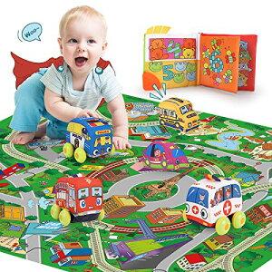 REMOKING 赤ちゃん おもちゃ プレイマット 布おもちゃ 室内遊具 おもちゃ 女の子 男の子 車 おもちゃ デジタル布えほん ベビーカー 用おもちゃ 布絵本 知育玩具 キッズ 遊びマット 図形認知 誕